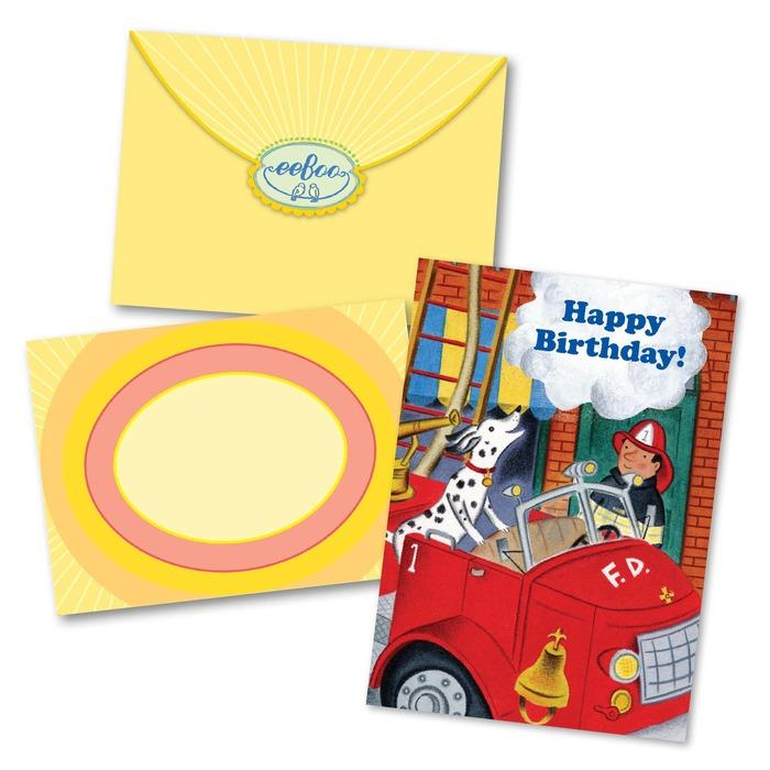 Fire Dog and Fireman Birthday Card