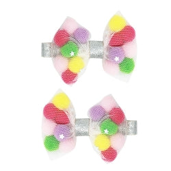 Pom Pom Sparkle Bow Hairclips