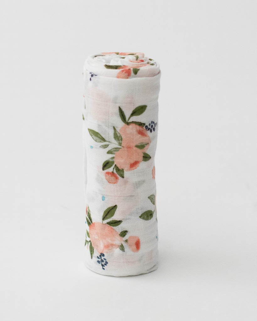 Cotton Muslin Swaddle Single - Watercolor Roses
