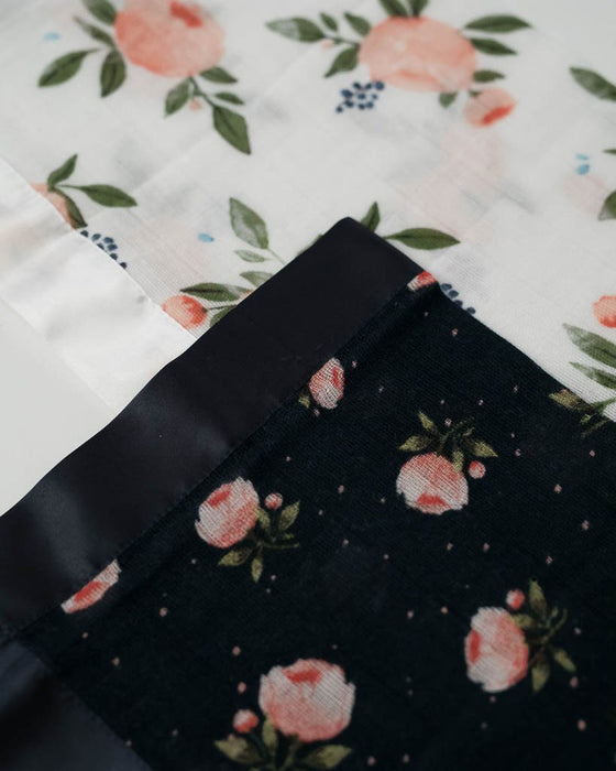 Cotton Muslin Security Blanket 2 pack - Watercolor Roses + Midnight Rose