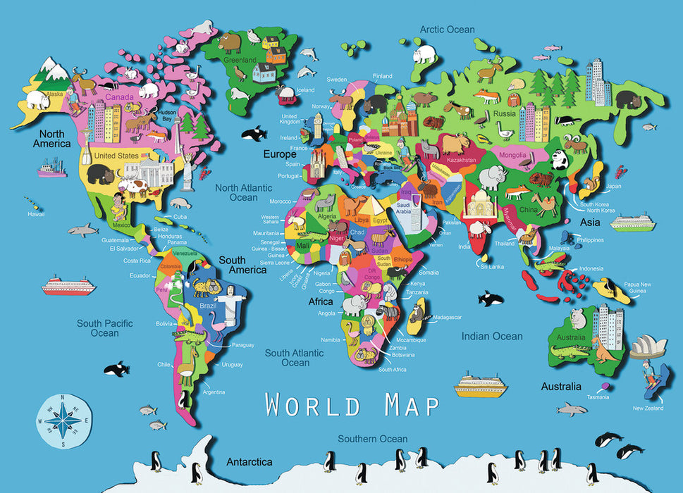 World Map - 60pc Puzzle