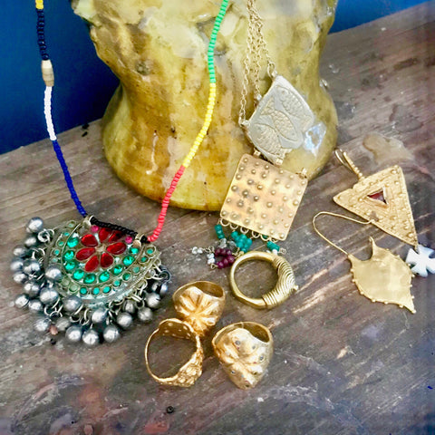 Moroccan pottery, gold organic handcrafted jewellery, afghan antique jewellery