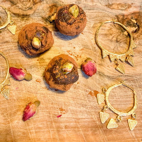 Chocolate Truffles with Vine Temptress and Memory of the Earth Earrings
