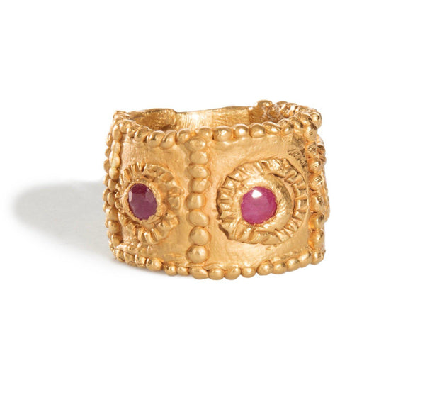 Loren Lewis Cole Rubies Cigar band Dots  Gold Plated eco silver  perfectly imperfect ancient inspired talismanic story telling amulet inspired triangles studs dots texture
