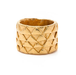 Loren Lewis Cole Large Golden Ring Gold Plated eco silver cigar bands with triangles perfectly imperfect ancient inspired talismanic story telling amulet triangles