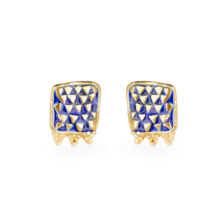 Loren Lewis Cole Jewellery Ancient Inspired Talismanic fairtrade gold rustic unrefined triangle studs