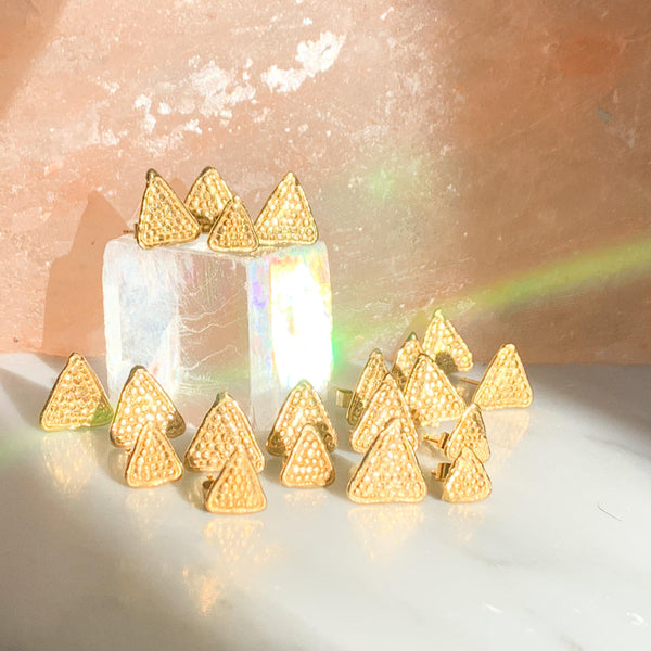 Loren Lewis Cole Triangles  Gold Plated eco silver  perfectly imperfect ancient inspired talismanic story telling amulet inspired triangles studs dots texture