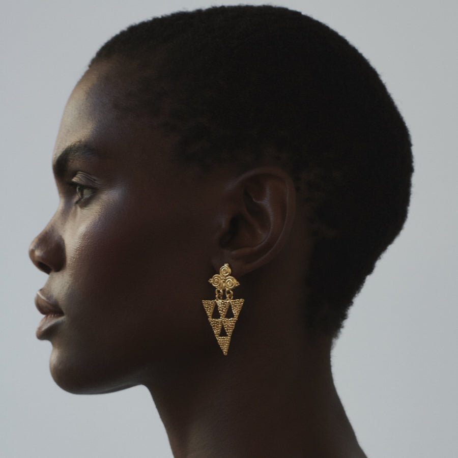The Everything Is Here Earrings - Gold Plated Eco Silver Large Triangle Earrings