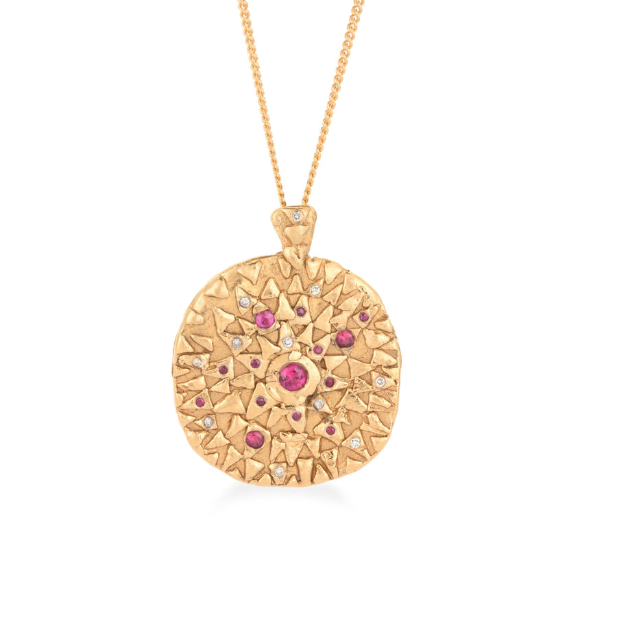 Loren Lewis Cole Jewellery Ancient Inspired Talismanic fairtrade gold rustic unrefined sensual magical storytelling medallion coin pendant with triangles  rubies grey diamonds texture rustic