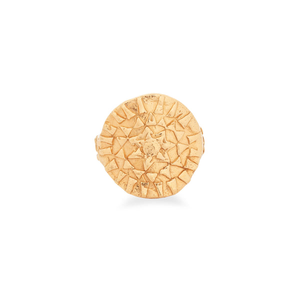 Loren Lewis Cole Jewellery Ancient Inspired Talismanic fairtrade gold rustic unrefined sensual magical storytelling medallion circular shield ring with triangles texture rustic