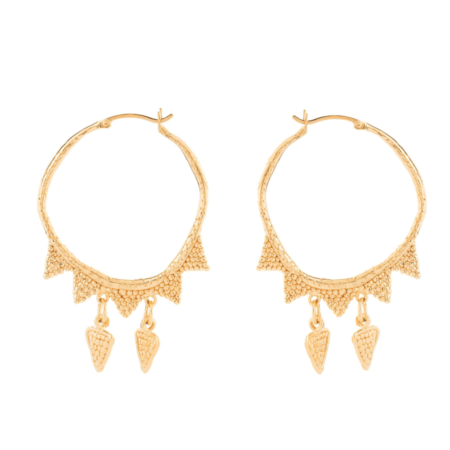 Loren Lewis Cole Jewellery large gold hoop earrings with gold triangles, bohemian style perfectly imperfect jewellery