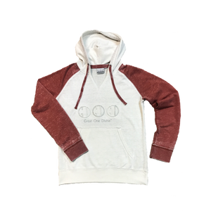 Fleece Hood-Marshmallow/Burgundy
