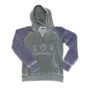 Fleece Hood-Grey/Amethyst
