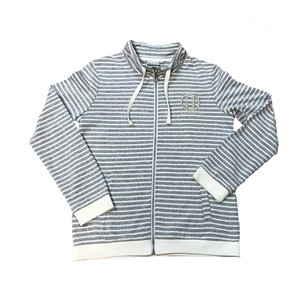Full Zip French Terry Jacket- White/Distressed Blue Stripes