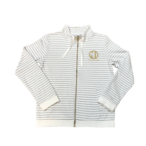 Full-Zip French Terry Jacket-White/Grey Stripes