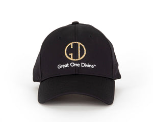 Ladies Black Cap with Gold Logo and Sequins