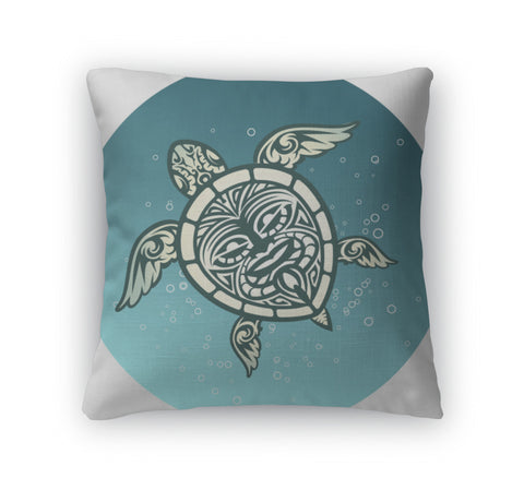 Throw Pillow, Swimming Sea Turtle With Polynesian Tribal Pattern