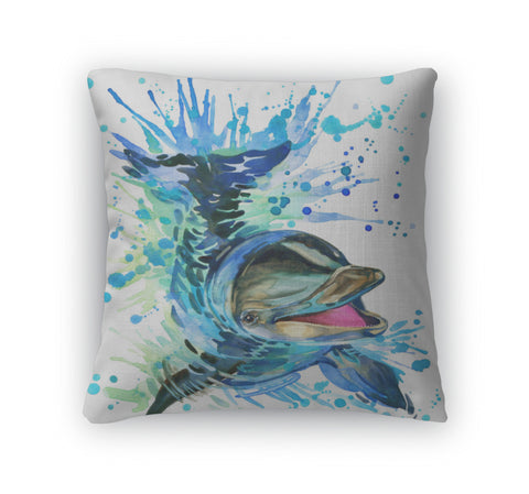 Throw Pillow, Tshirt Graphics Dolphin Illustration Watercolor