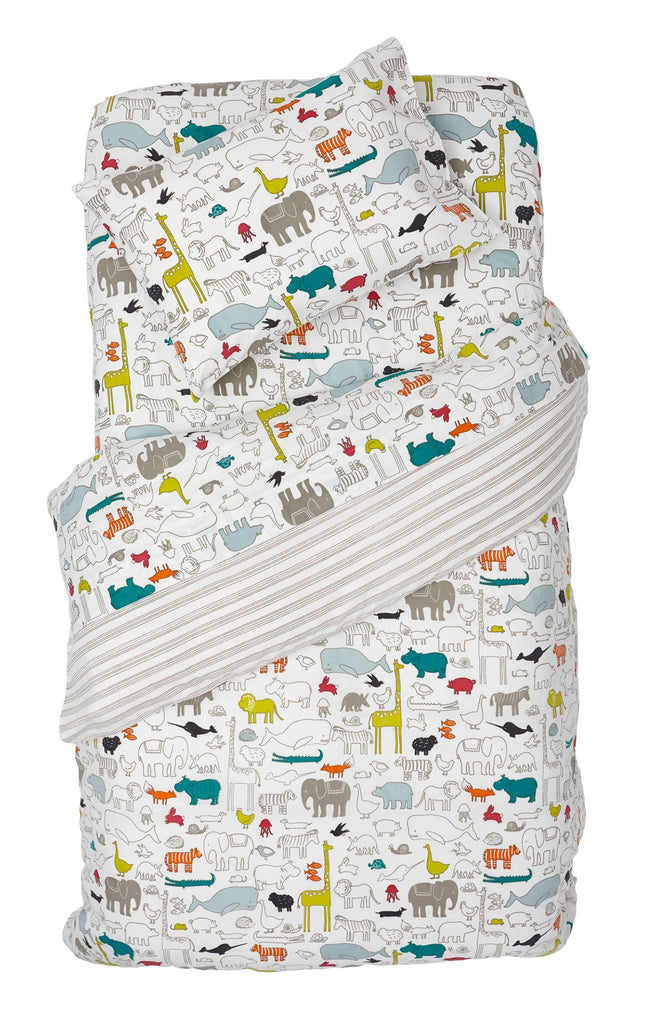 Noah's Ark Twin Stripe Duvet Cover