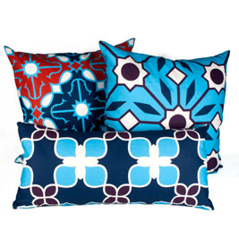 Flower Tile lumbar pillow in Navy