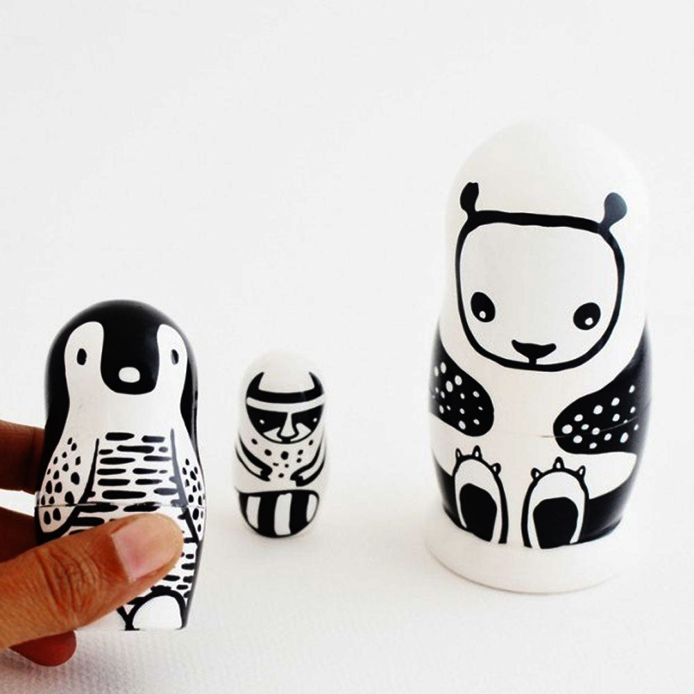 Set of 3 Nesting Dolls - Black and White Animals