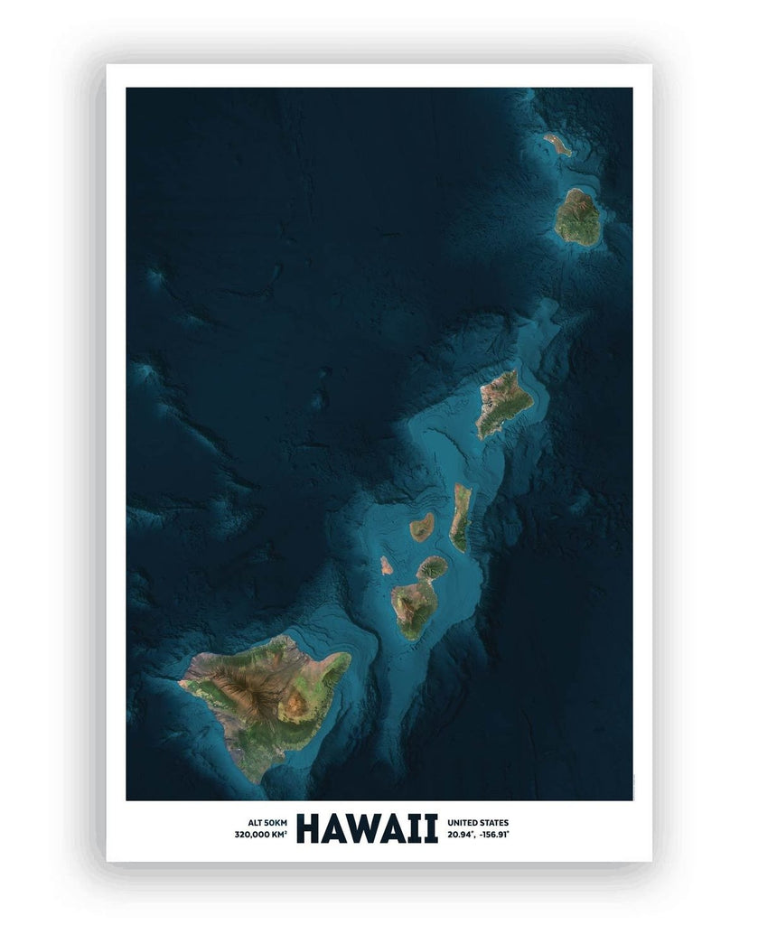 Hawaii Bathymetry Global Eye Print