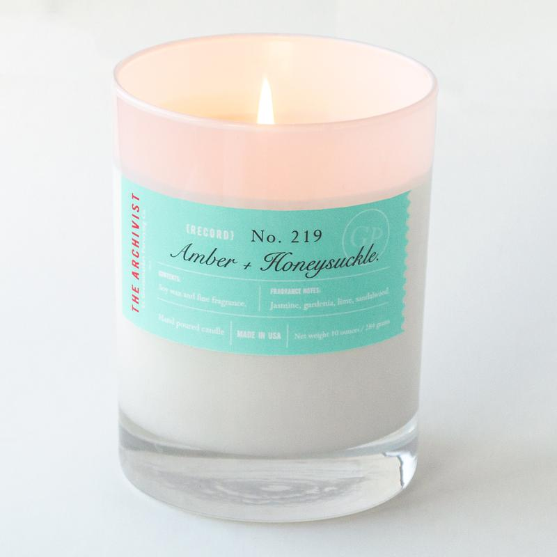 Amber + Honeysuckle 10 oz. Archivist Candle