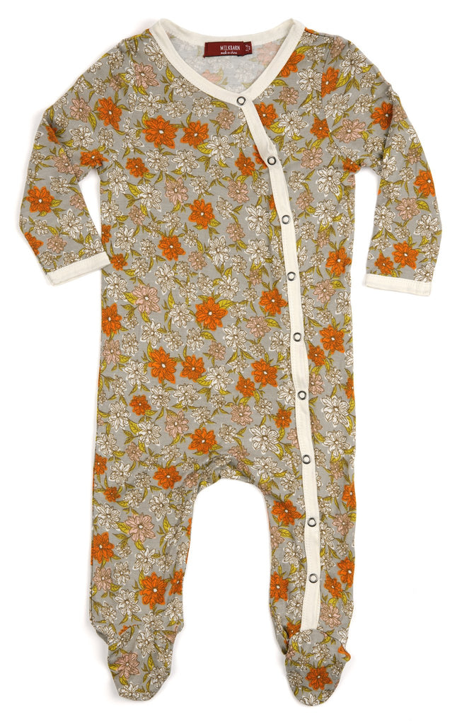 Bamboo Grey Floral Footed Romper