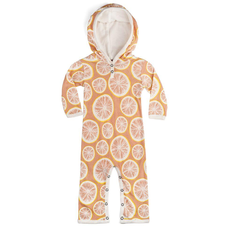 Organic Pink Grapefruit Hooded Romper