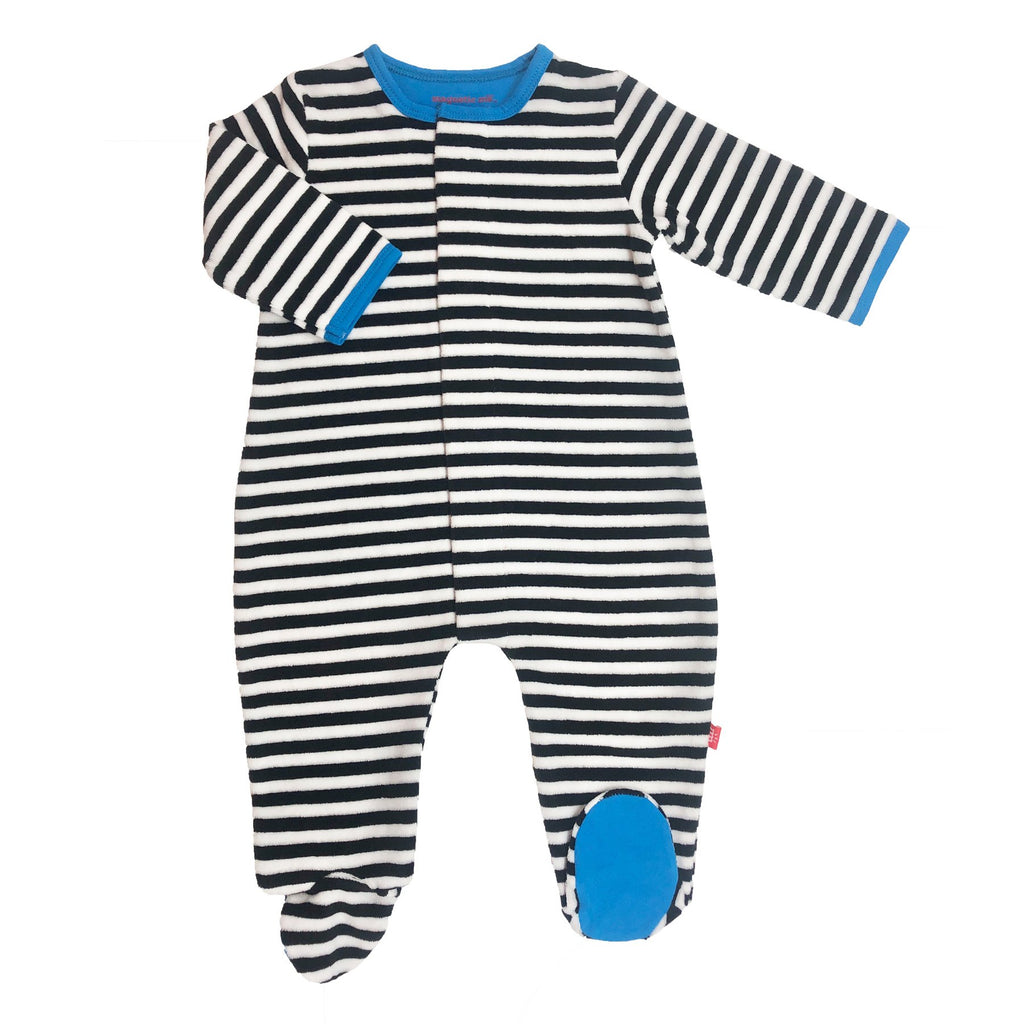 Black Stripe Blue Trim Velour Magnetic Footie