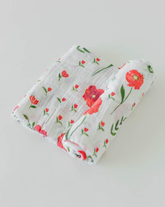 Organic Cotton Swaddle - Summer Poppy
