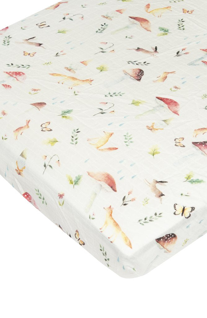 Fitted Muslin Crib Sheet Woodland Gnome