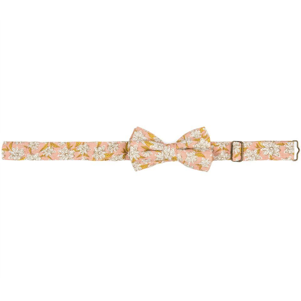Organic Linen Bow Tie Rose Floral