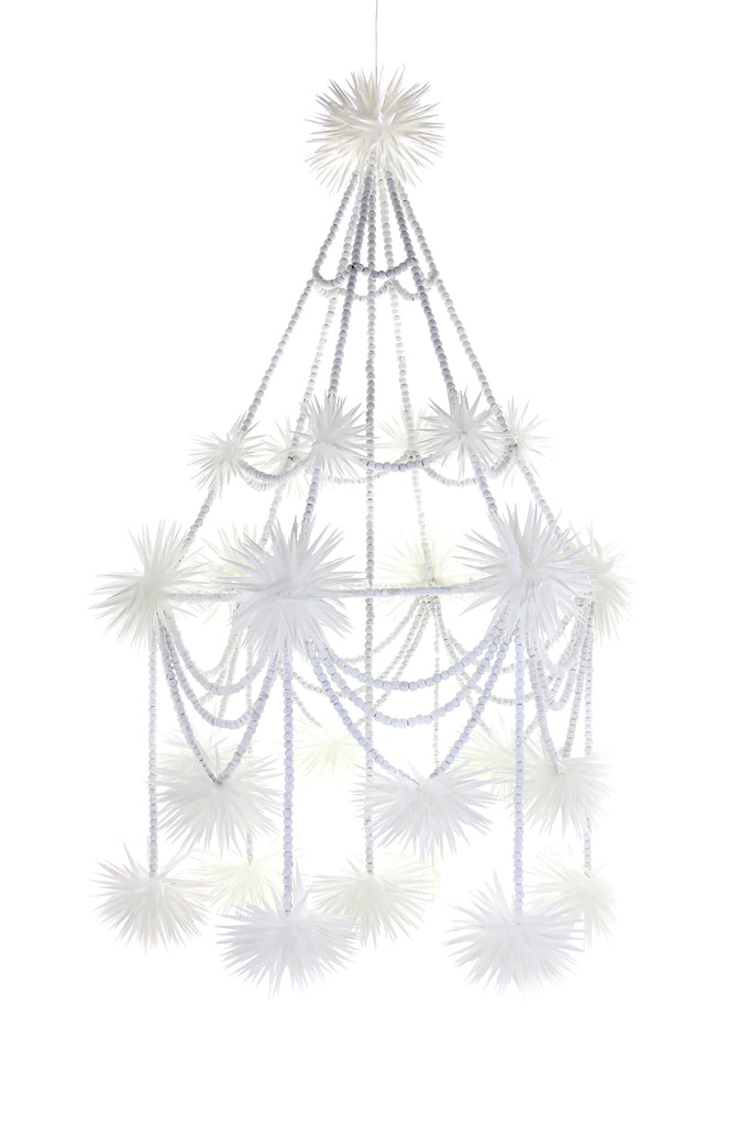 BEADED PAJAKI CHANDELIER - WHITE
