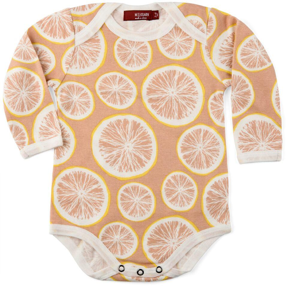 Organic Long Sleeve Pink Grapefruit Onesie