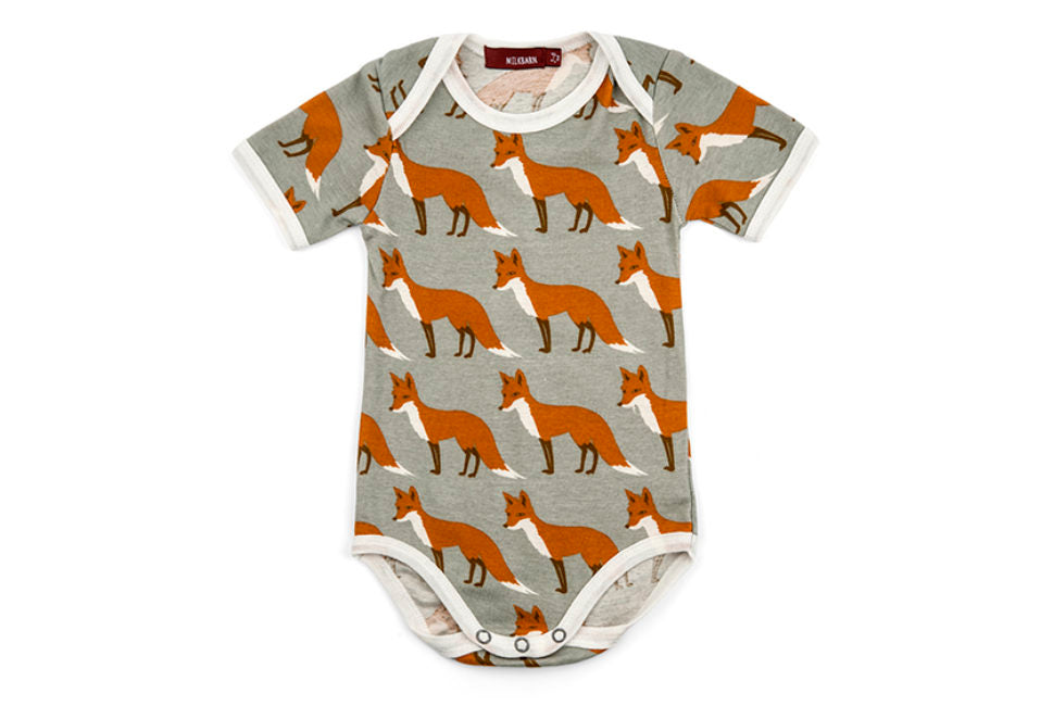 Organic Short Sleeve Orange Fox Onesie