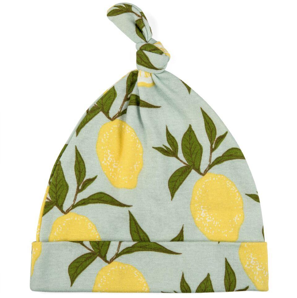 Organic Knotted Hat Blue Lemon
