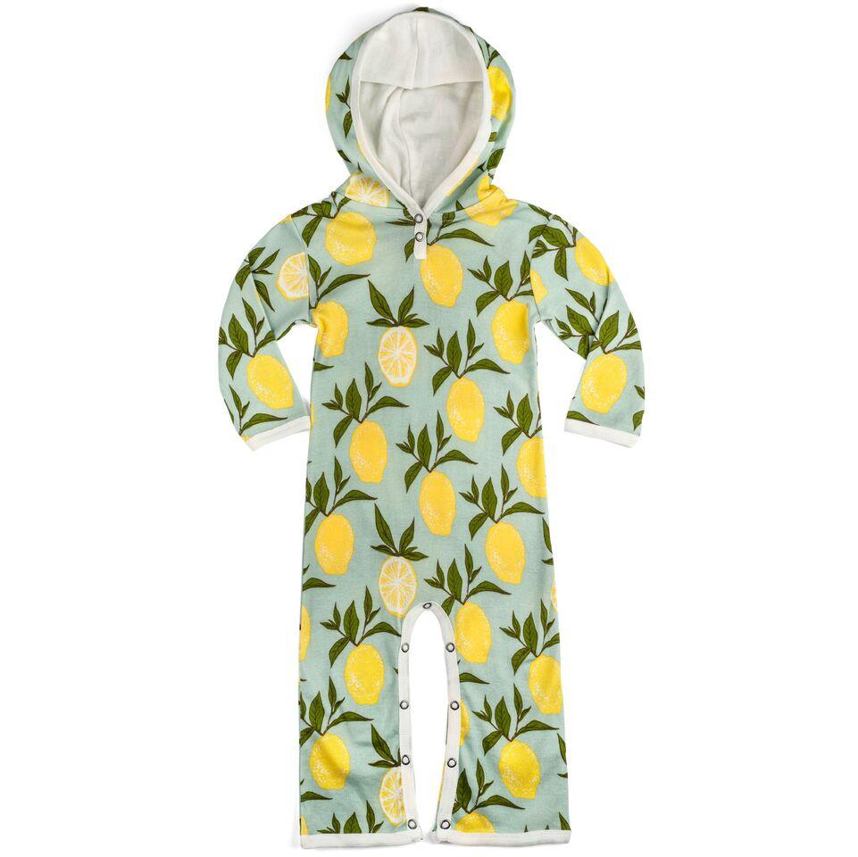Organic Blue Lemon Hooded Romper