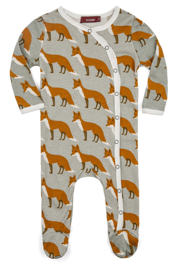 Organic Orange Fox Footed Romper