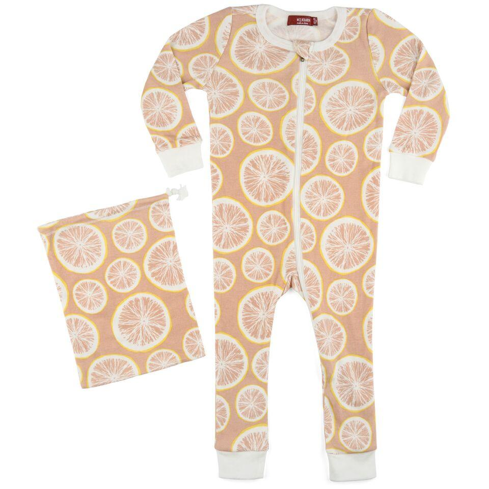 Organic Zipper Pink Grapefruit Pajamas