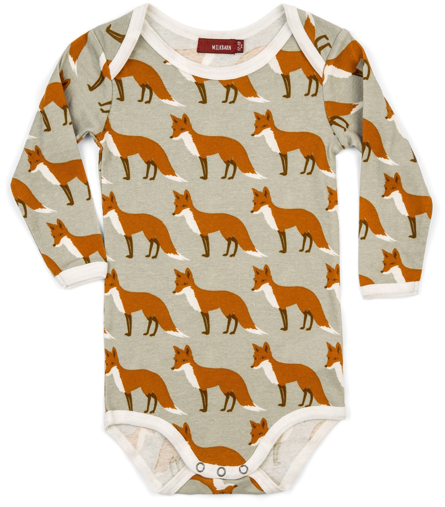 Organic Long Sleeve Orange Fox Onesie
