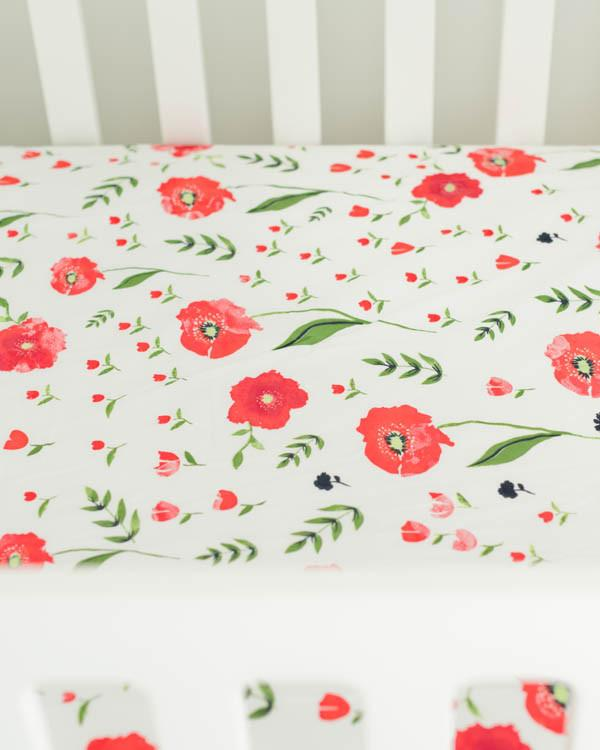 Summer Poppy Percale Crib Sheet