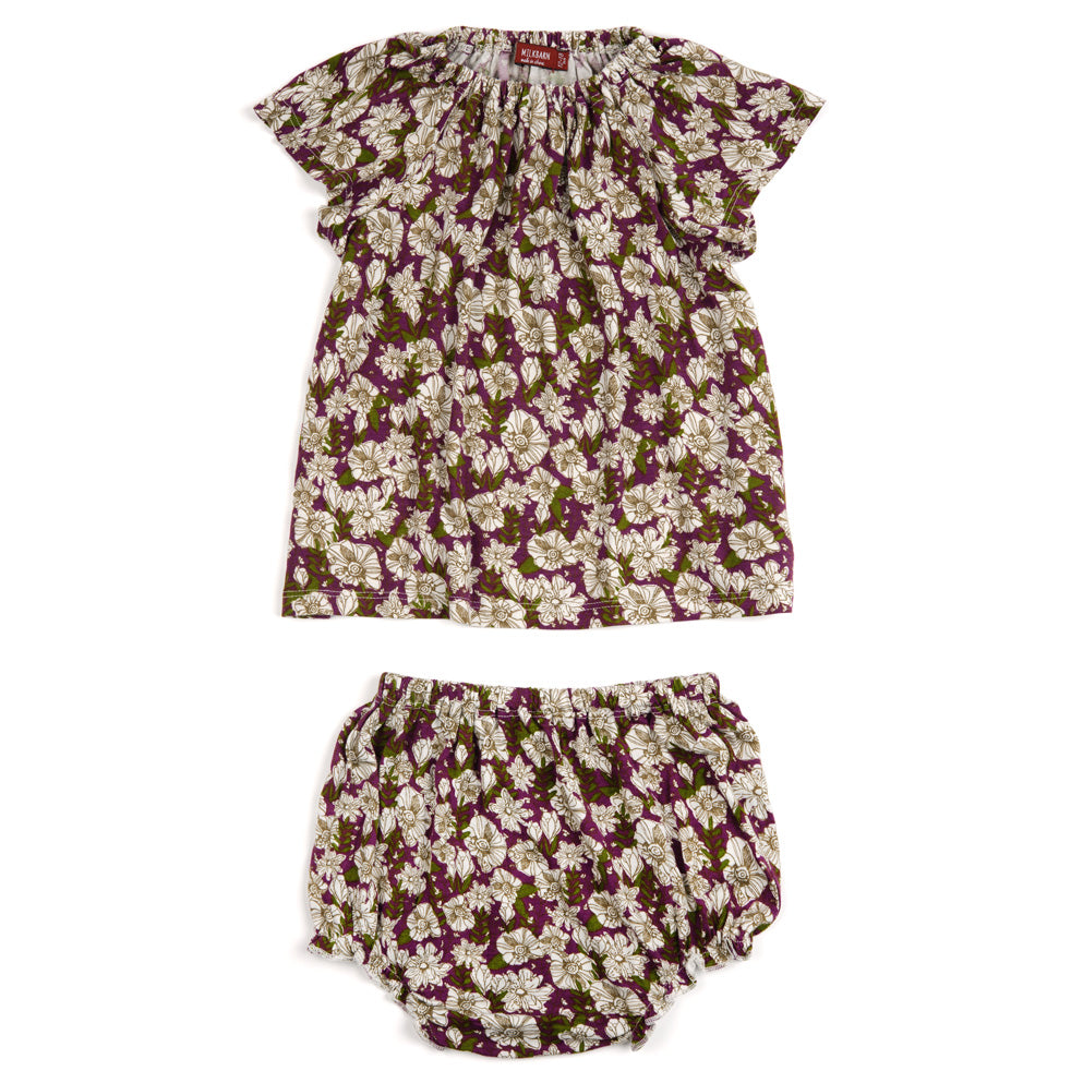 Purple Floral Bamboo Dress & Bloomer Set