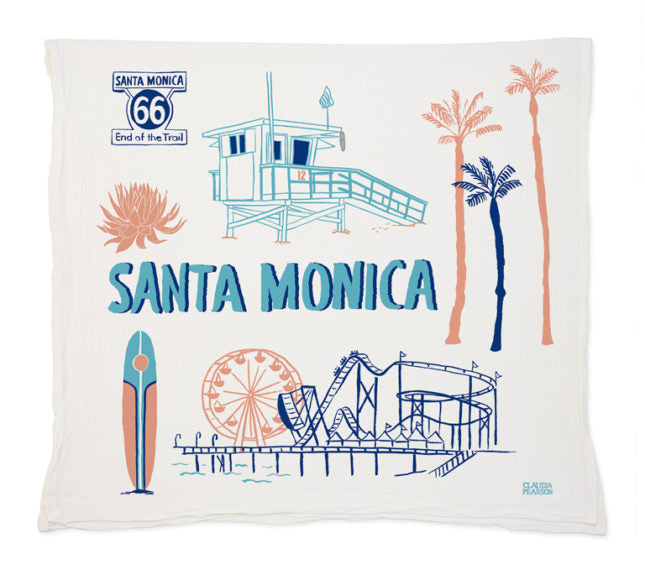 Santa Monica Tea Towel