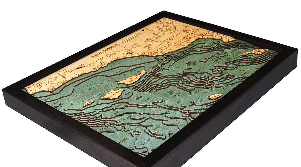 Santa Barbara, California 3-D Nautical Wood Chart