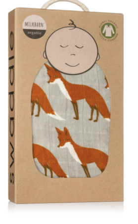 Organic Muslin Swaddle Orange Fox