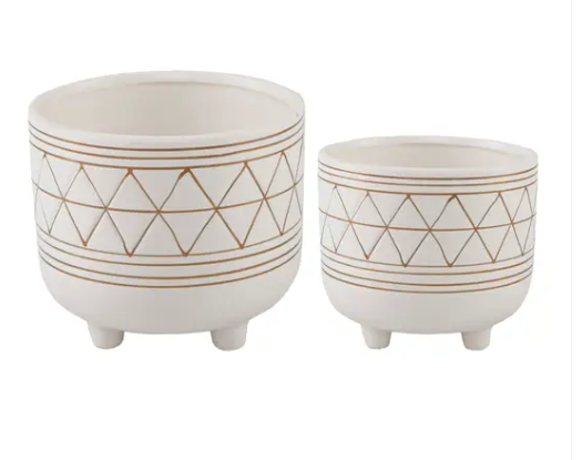 "Set Of 2 Geo 6"" And 5"" Ceramic With legs"