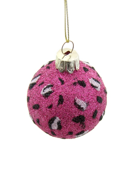 Small Pink Leopard Ball Ornament