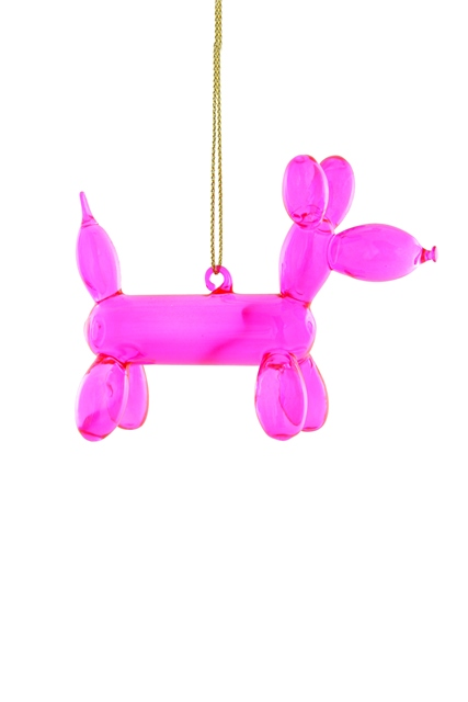 Pink Balloon Poodle Ornament