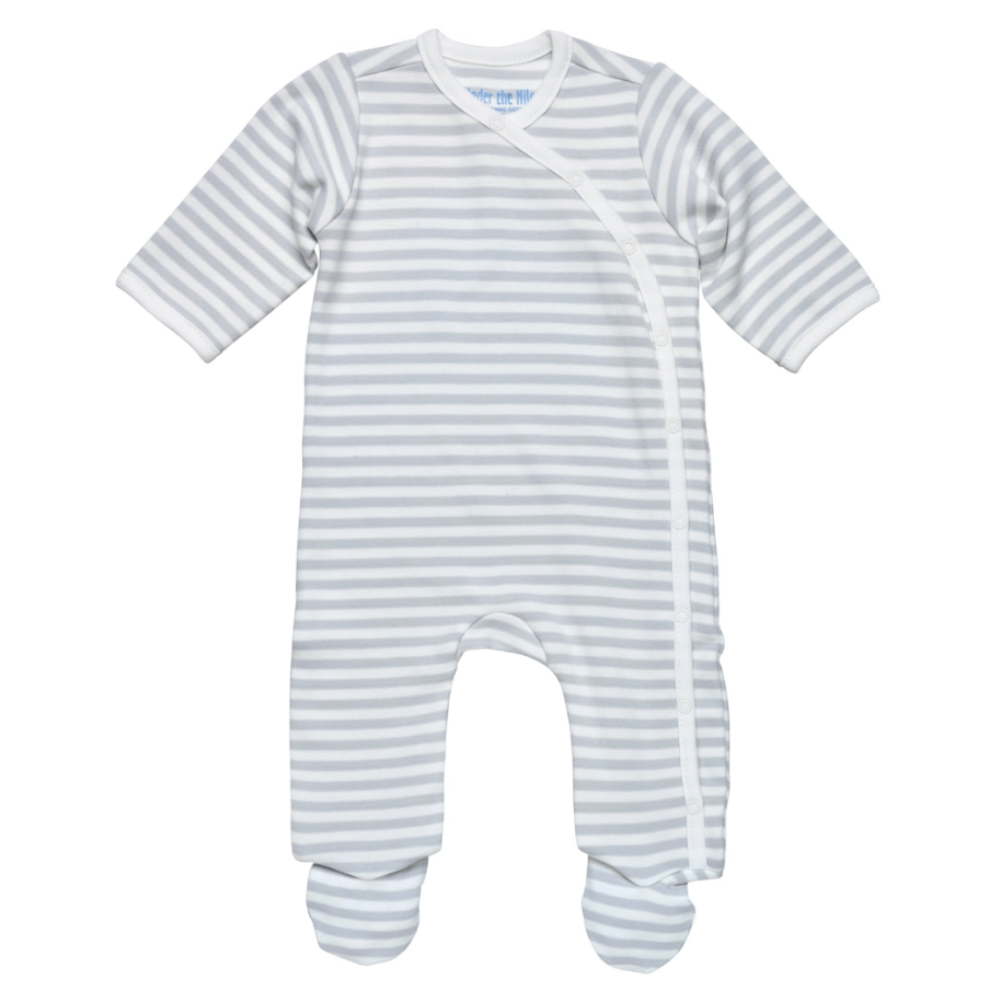 Side Snap Footie Grey Stripe